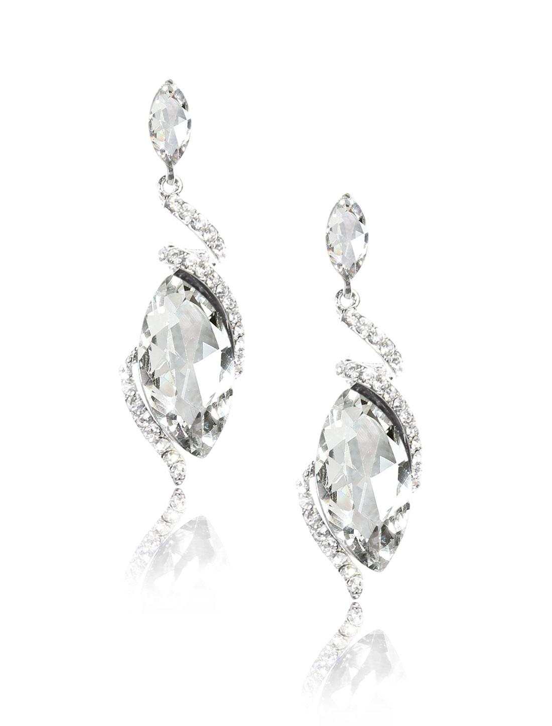 Women Irregular Rhinestone Drop Dangle Hook Earring Ear Stud White