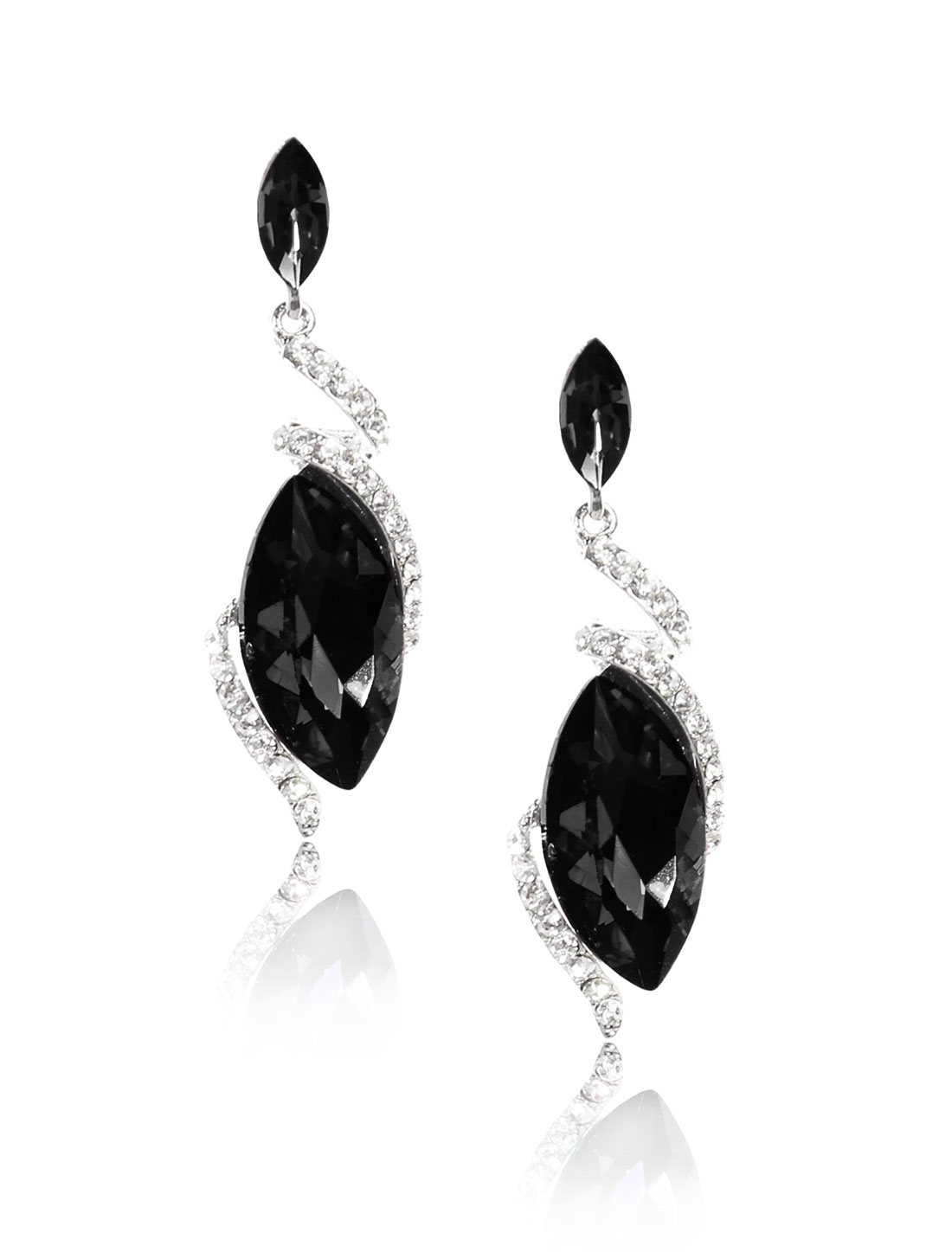Women Irregular Rhinestone Drop Dangle Hook Earring Ear Stud Black