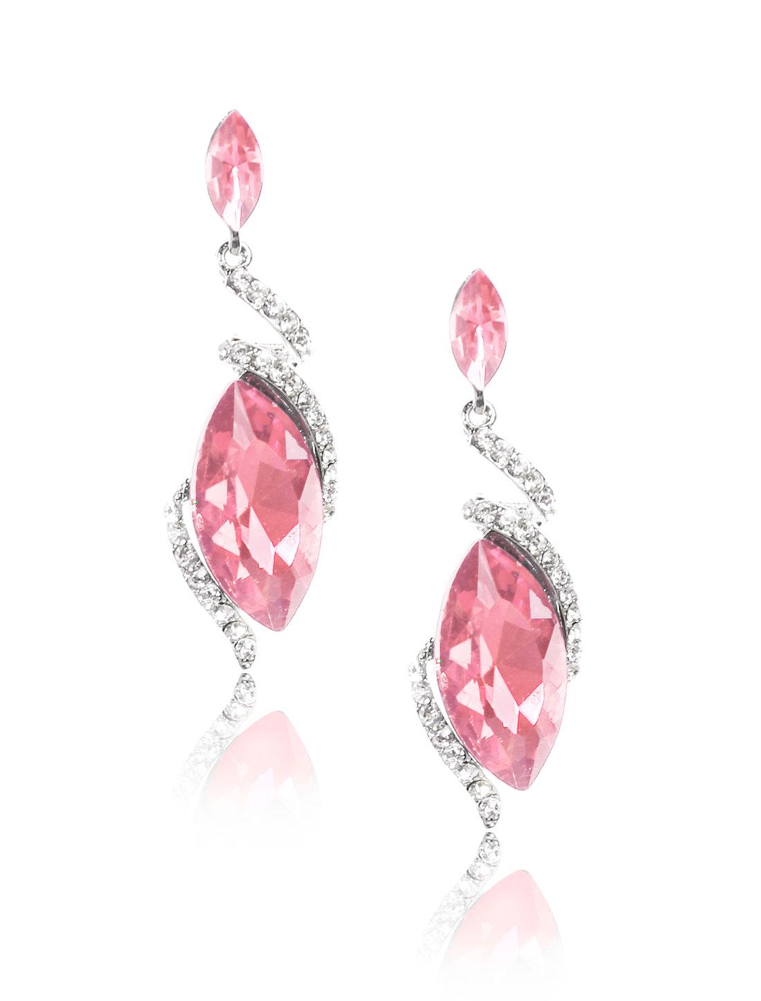 Women Irregular Rhinestone Drop Dangle Hook Earring Ear Stud Pink