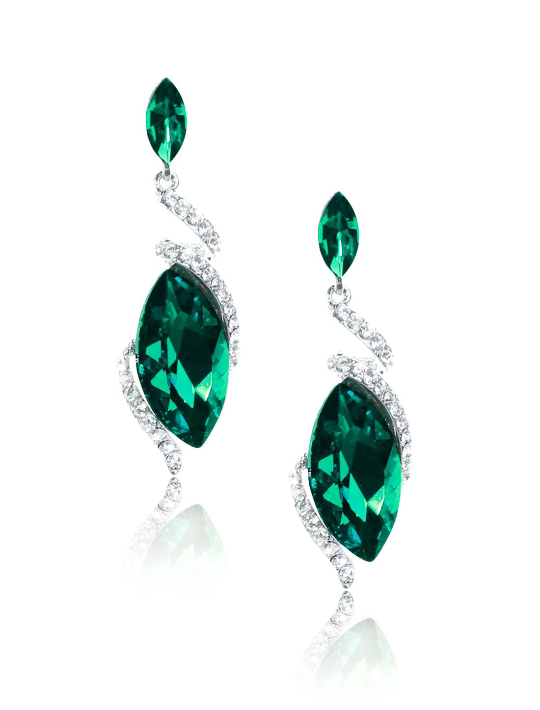 Women Irregular Rhinestone Drop Dangle Hook Earring Ear Stud Green