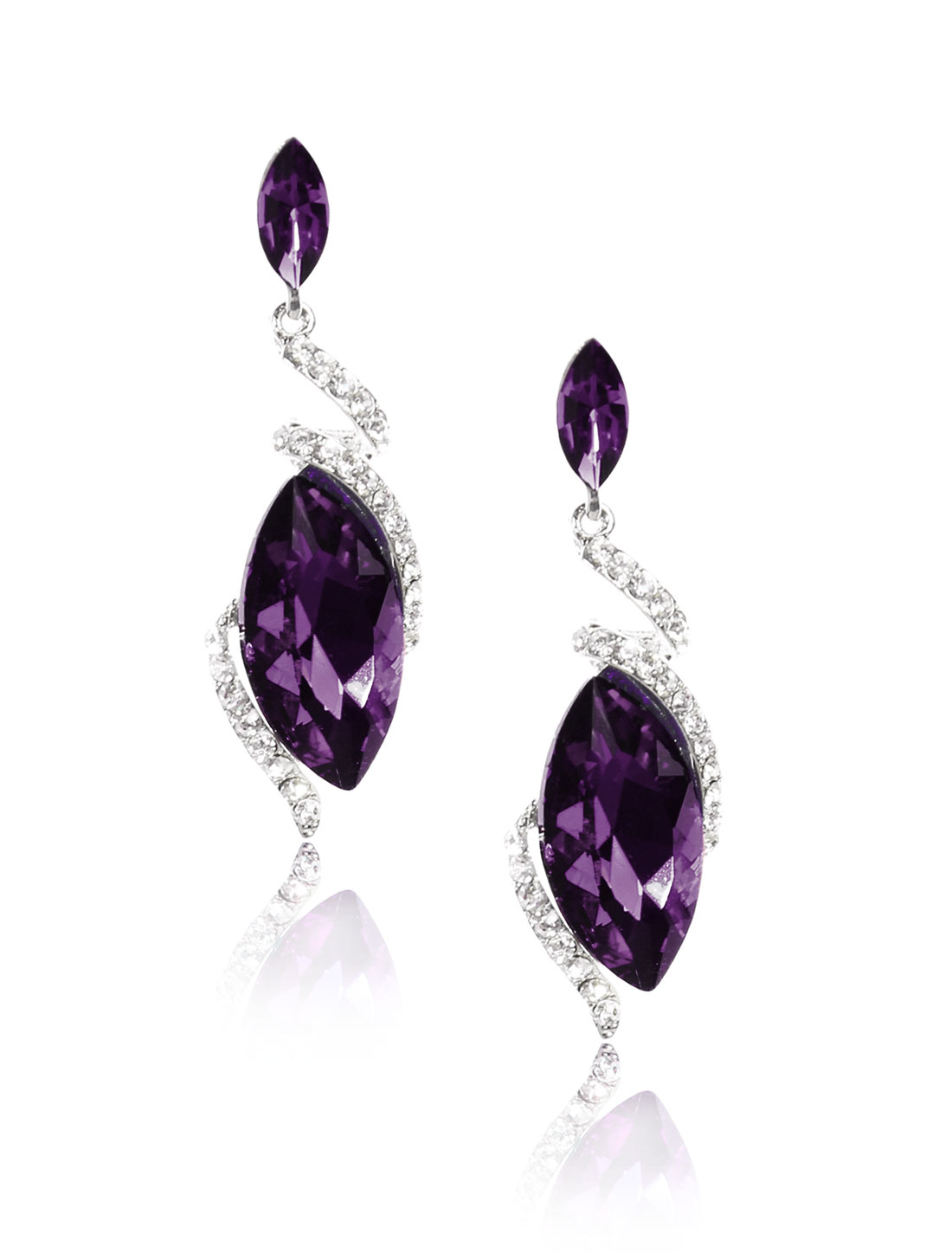 Women Irregular Rhinestone Drop Dangle Hook Earring Ear Stud Purple
