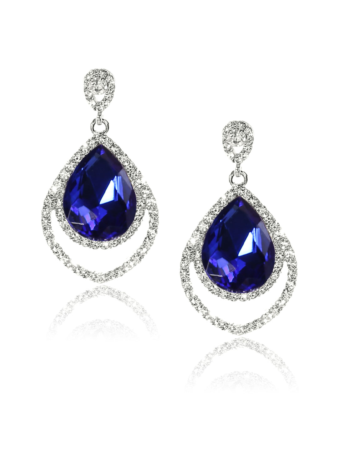 Women Two-layer Rhinestone Drop Dangle Hook Earring Ear Stud Dark Blue