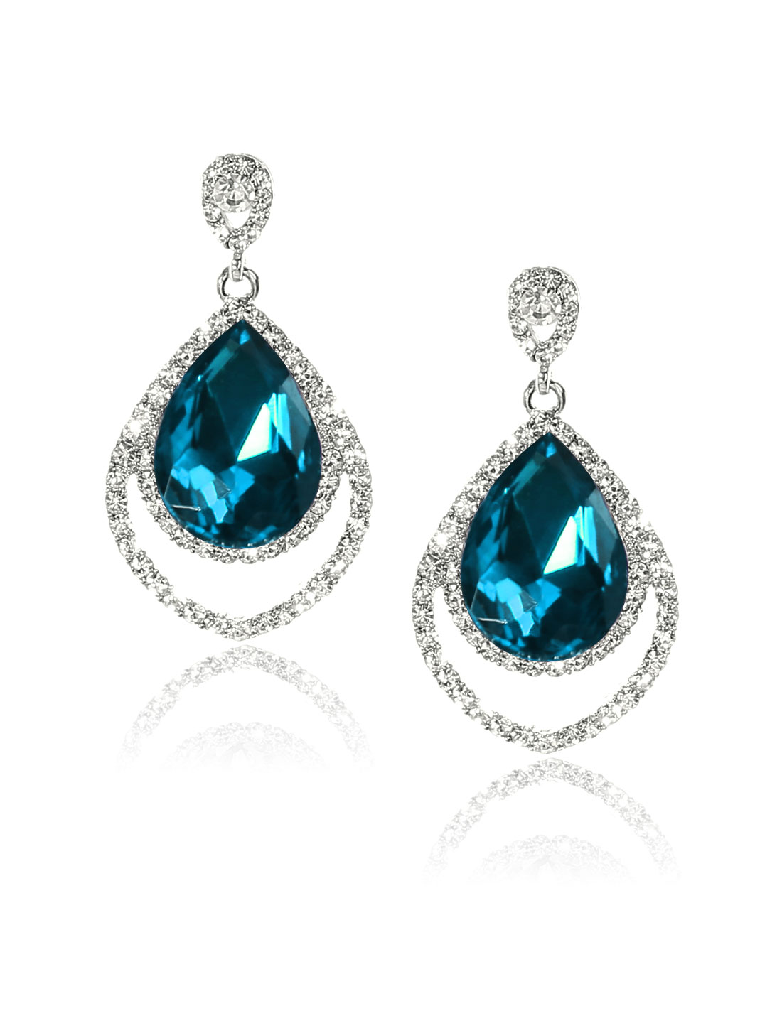 Women Two-layer Rhinestone Drop Dangle Hook Earring Ear Stud Peacock Blue