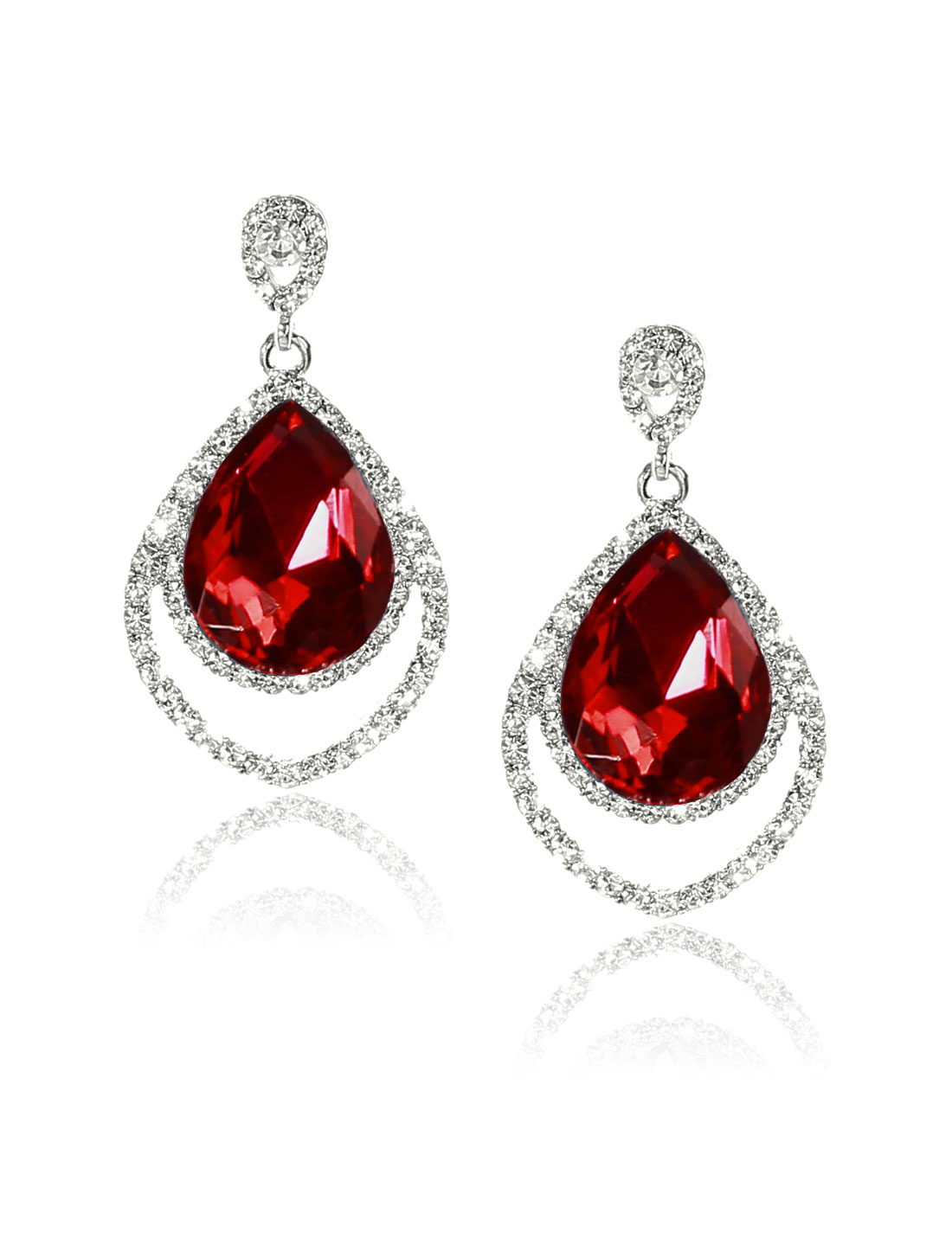 Women Two-layer Rhinestone Drop Dangle Hook Earring Ear Stud Red