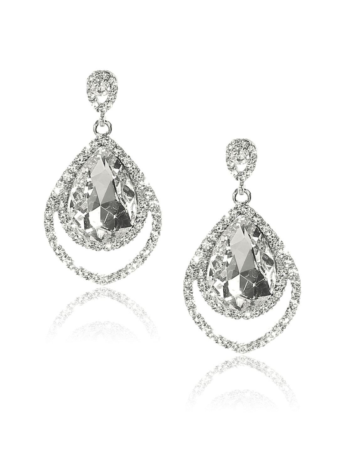 Women Two-layer Rhinestone Drop Dangle Hook Earring Ear Stud White