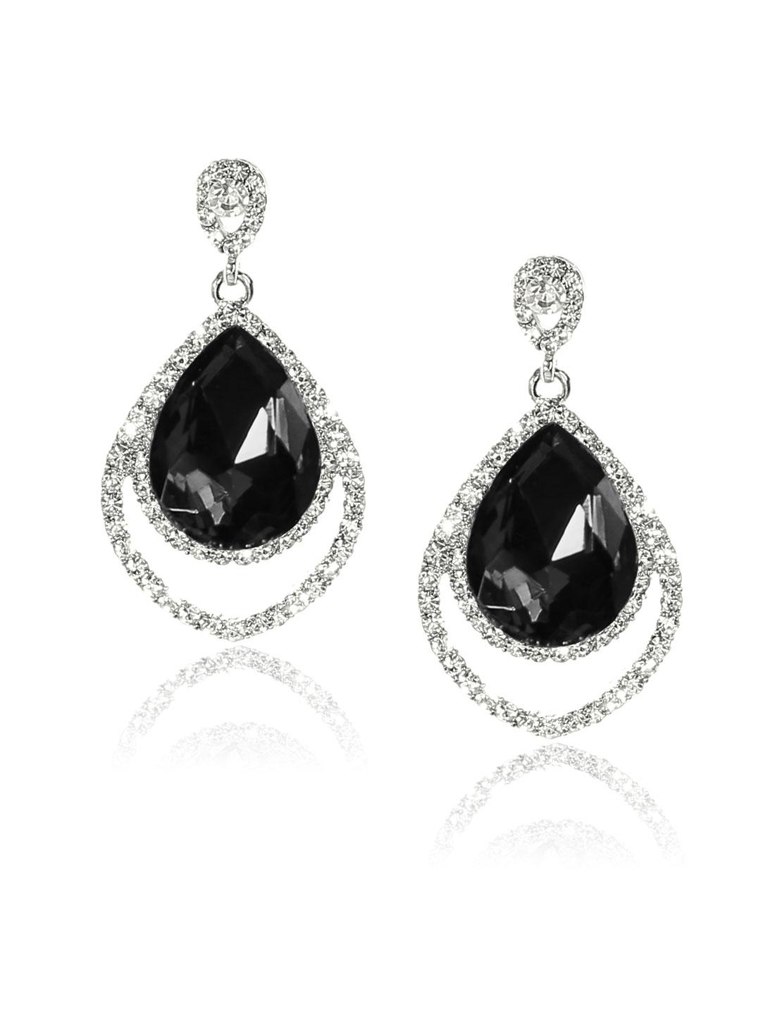 Women Two-layer Rhinestone Drop Dangle Hook Earring Ear Stud Black