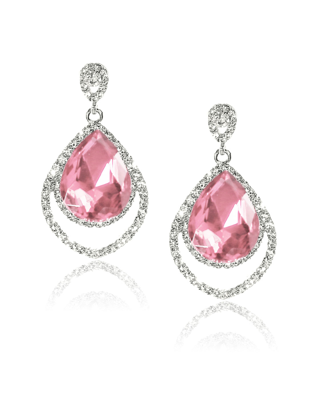 Women Two-layer Rhinestone Drop Dangle Hook Earring Ear Stud Pink