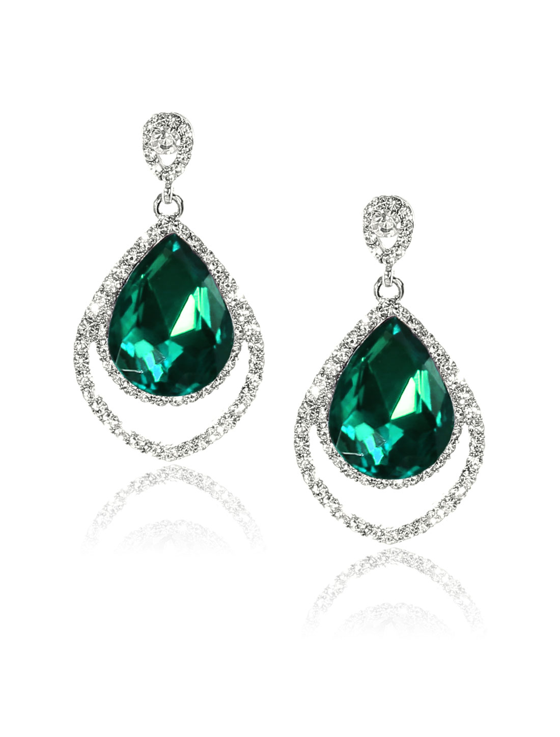 Women Two-layer Rhinestone Drop Dangle Hook Earring Ear Stud Green