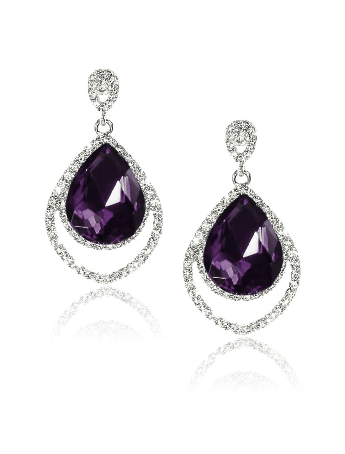 Women Two-layer Rhinestone Drop Dangle Hook Earring Ear Stud Purple