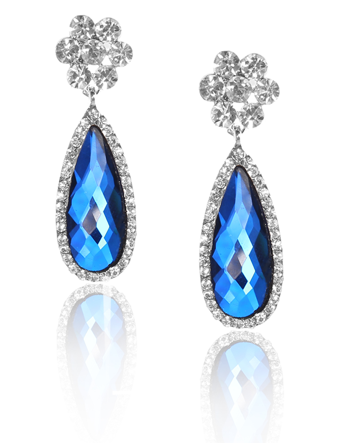Women Flower Rhinestone Drop Dangle Hook Earring Ear Stud Peacock Blue