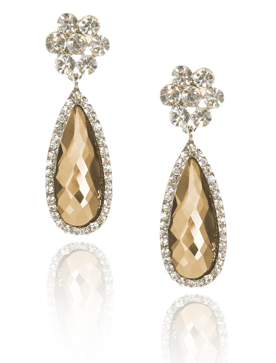 Women Flower Rhinestone Drop Dangle Hook Earring Ear Stud Champagne