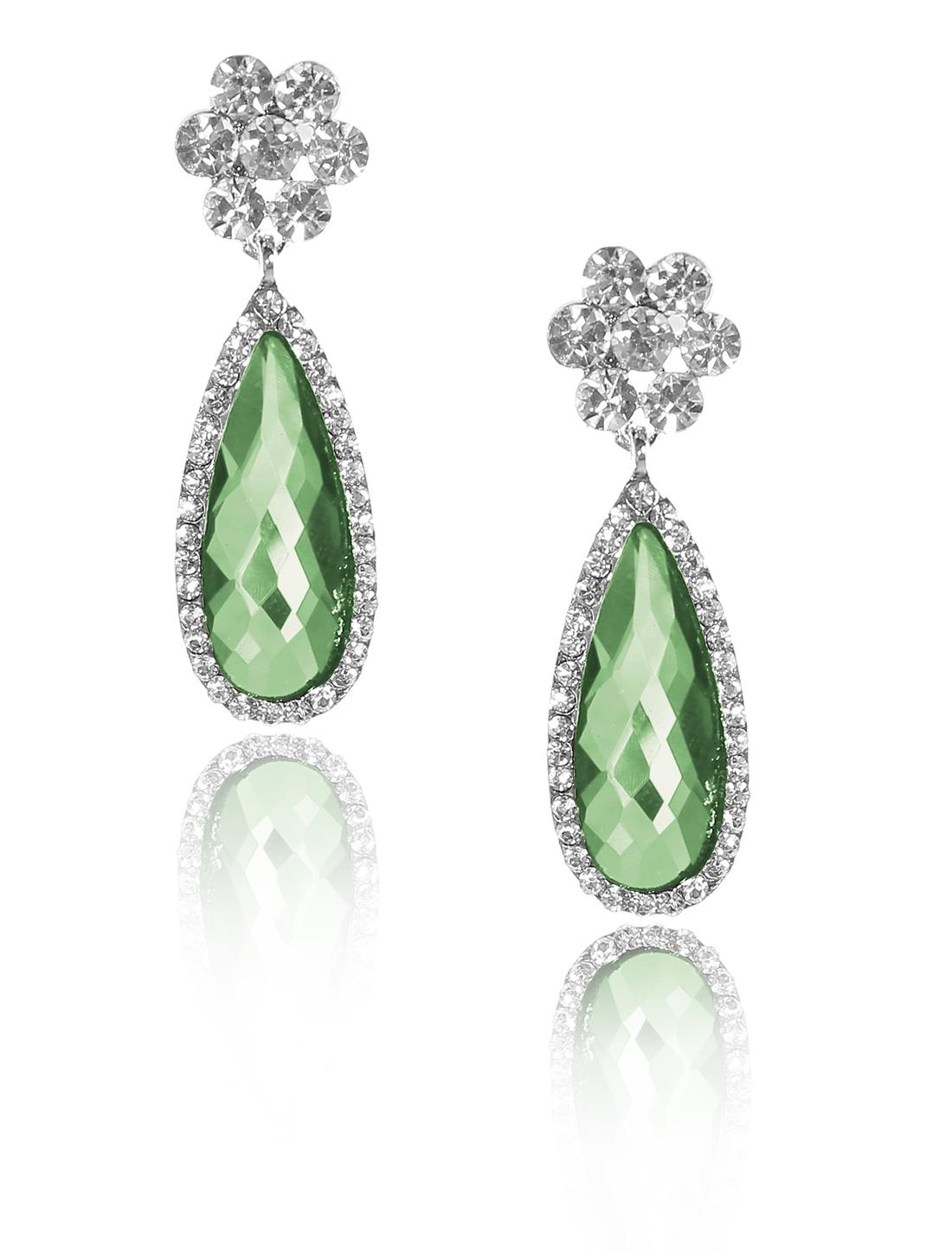 Women Flower Rhinestone Drop Dangle Hook Earring Ear Stud Green