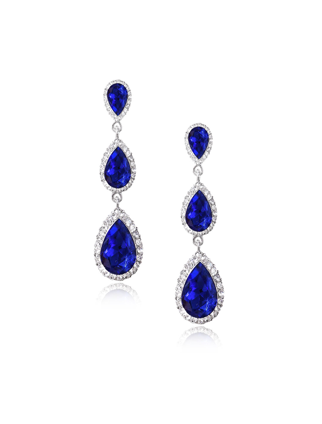 Women Three-layer Waterdrop Rhinestone Drop Dangle Hook Earring Ear Stud Dark Blue