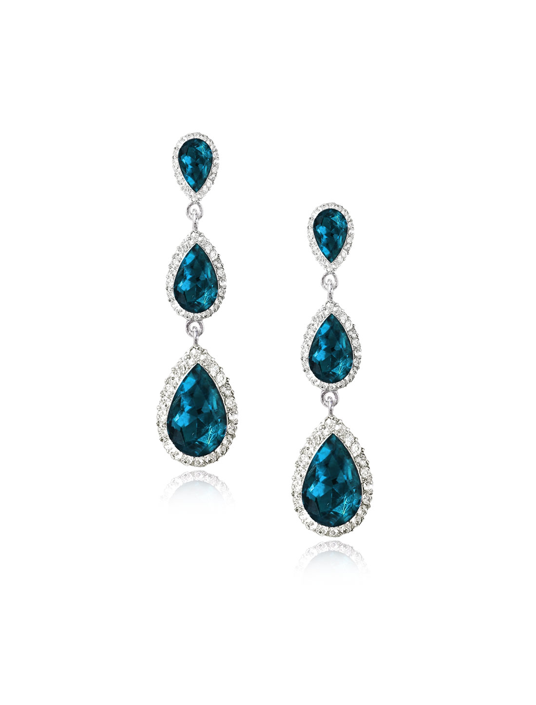 Women Three-layer Waterdrop Rhinestone Drop Dangle Hook Earring Ear Stud Peacock Blue