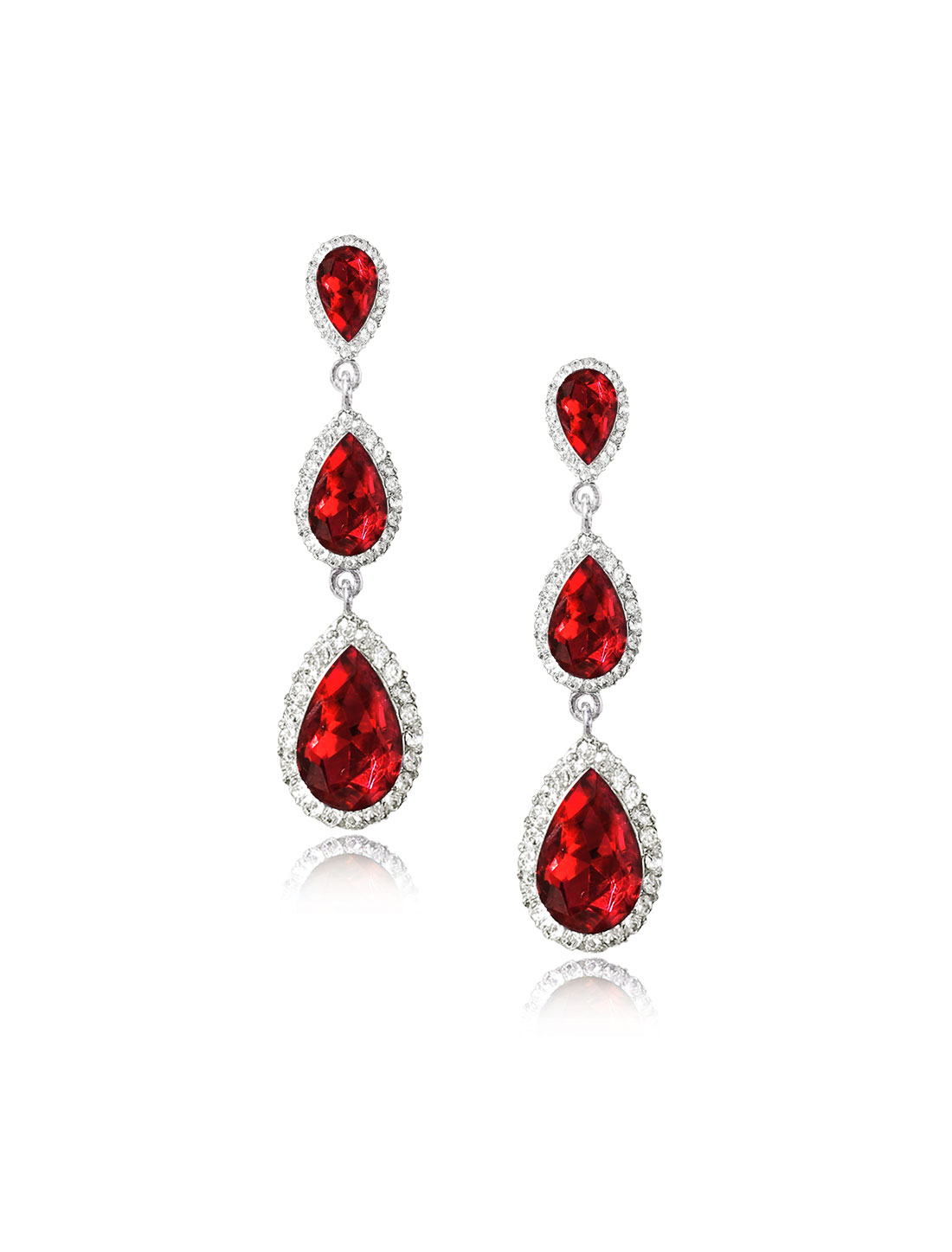 Women Three-layer Waterdrop Rhinestone Drop Dangle Hook Earring Ear Stud Red