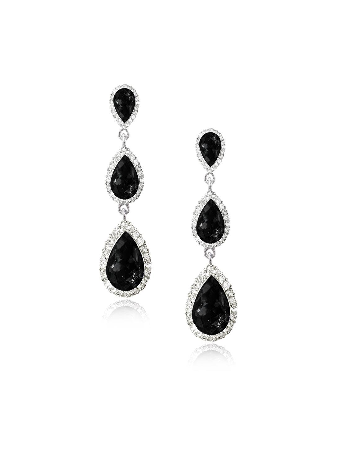 Women Three-layer Waterdrop Rhinestone Drop Dangle Hook Earring Ear Stud Black