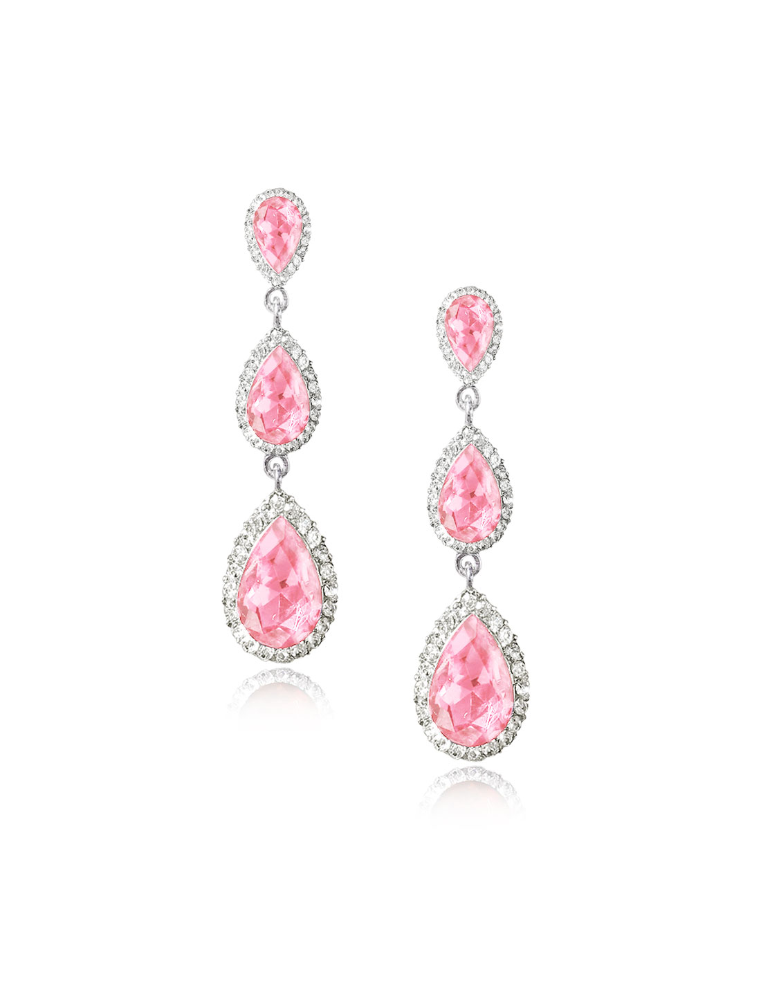 Women Three-layer Waterdrop Rhinestone Drop Dangle Hook Earring Ear Stud Pink