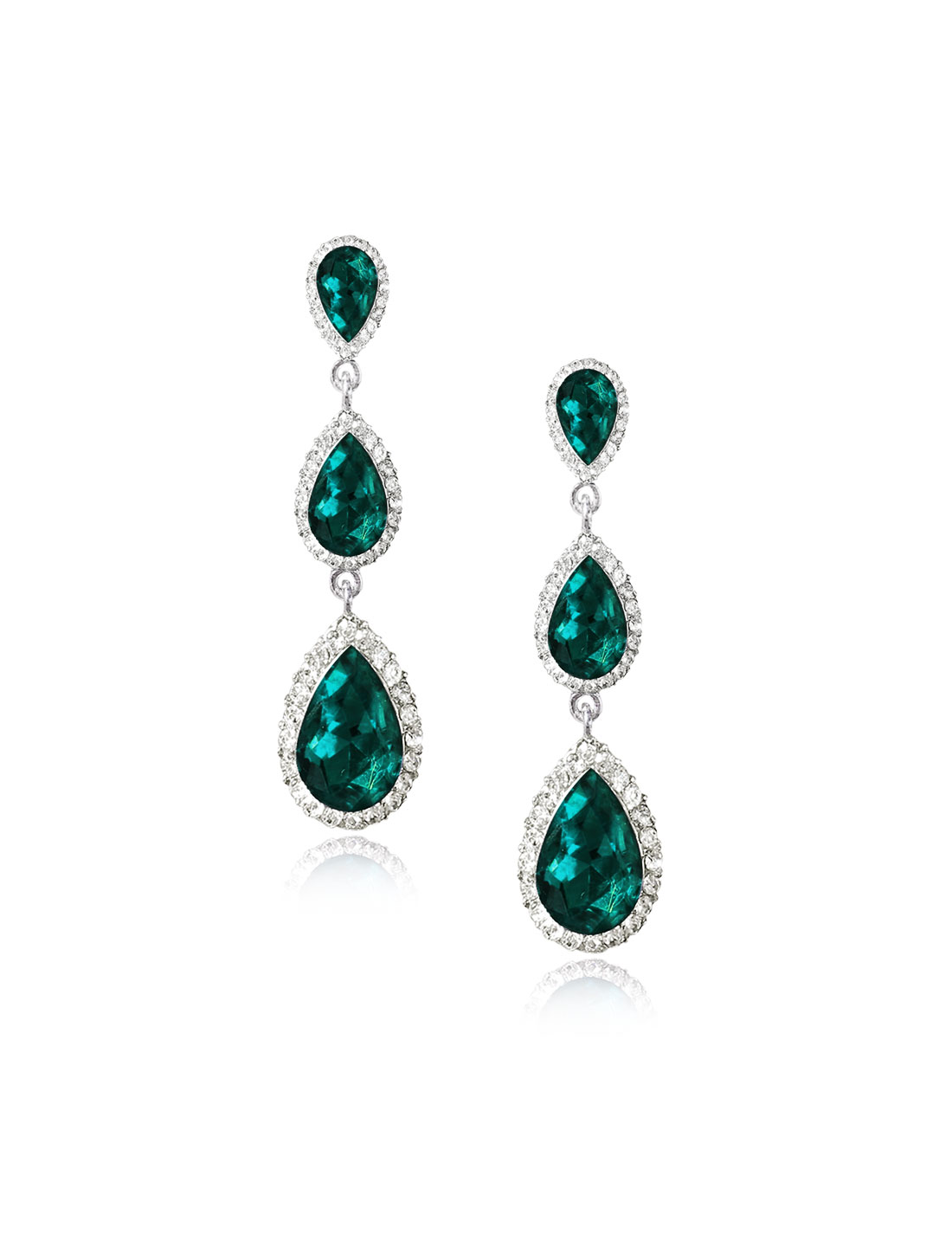 Women Three-layer Waterdrop Rhinestone Drop Dangle Hook Earring Ear Stud Green
