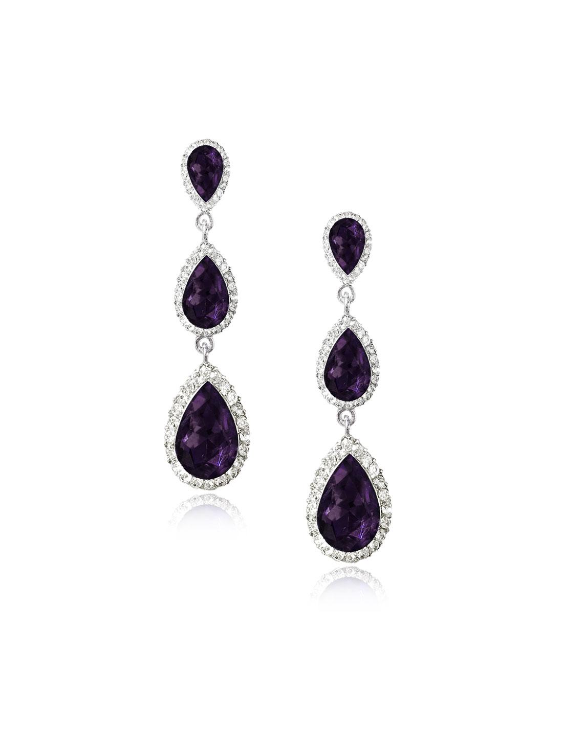 Women Three-layer Waterdrop Rhinestone Drop Dangle Hook Earring Ear Stud Purple