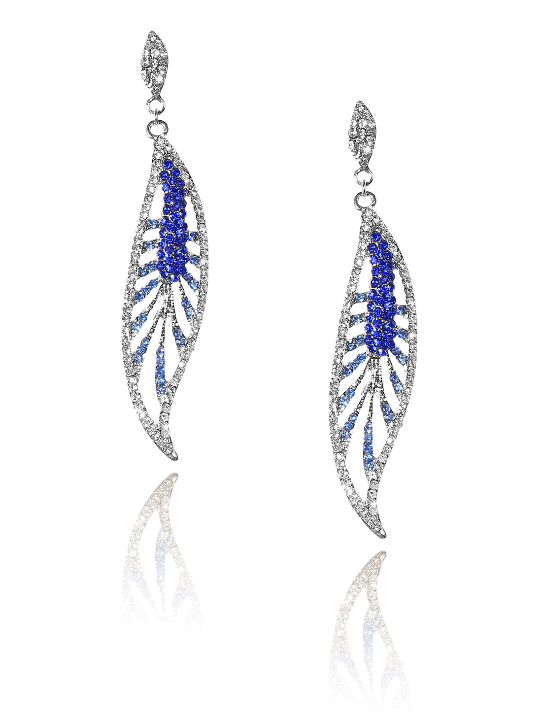 Women Leaf Rhinestone Drop Dangle Hook Earring Ear Stud Dark Blue