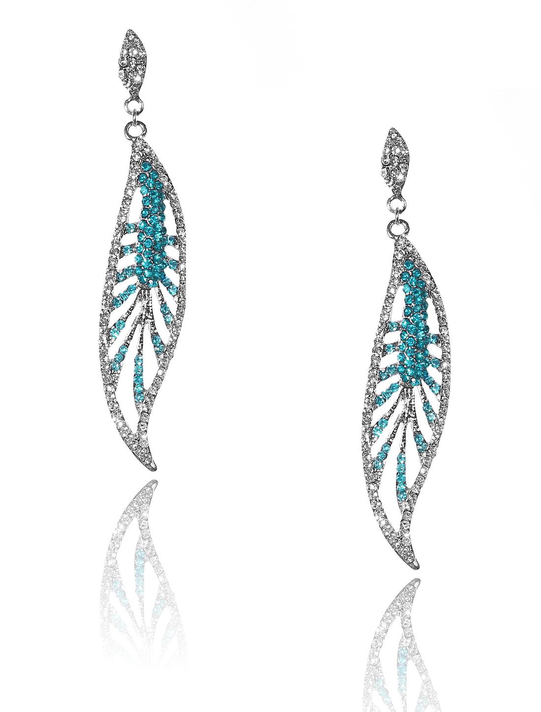 Women Leaf Rhinestone Drop Dangle Hook Earring Ear Stud Peacock Blue