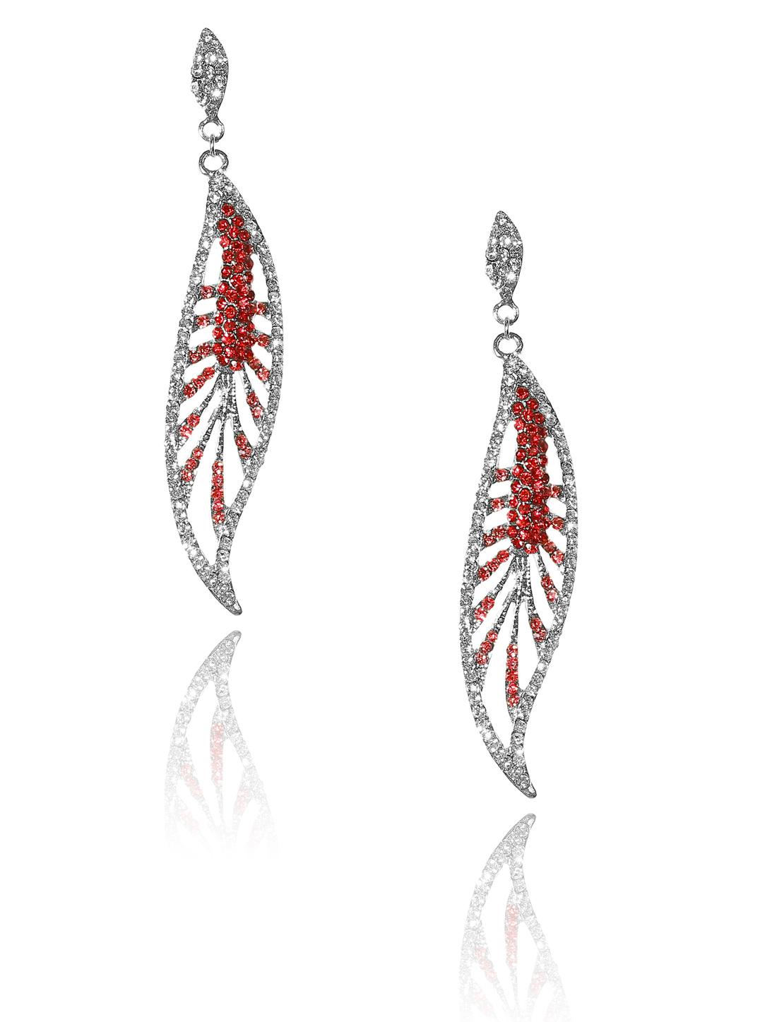 Women Leaf Rhinestone Drop Dangle Hook Earring Ear Stud Red