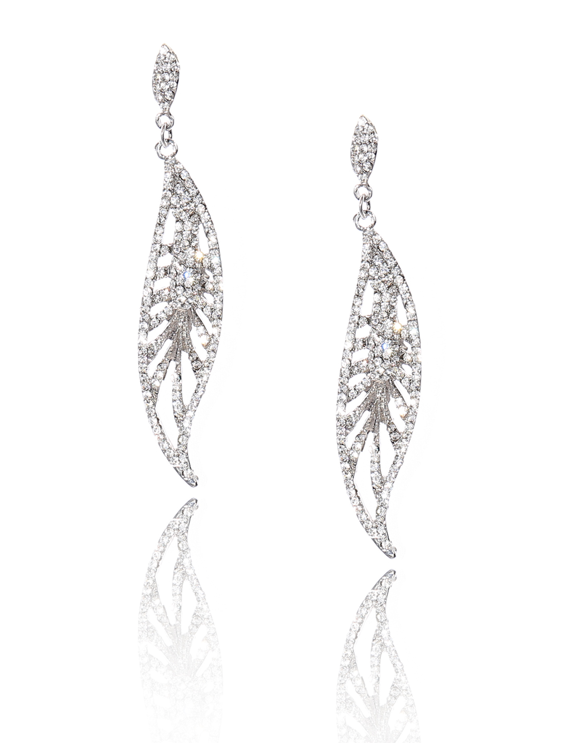 Women Leaf Rhinestone Drop Dangle Hook Earring Ear Stud White