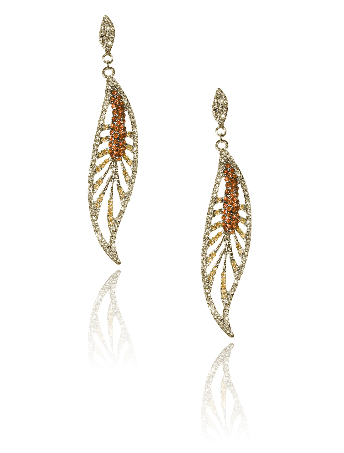 Women Leaf Rhinestone Drop Dangle Hook Earring Ear Stud Champagne
