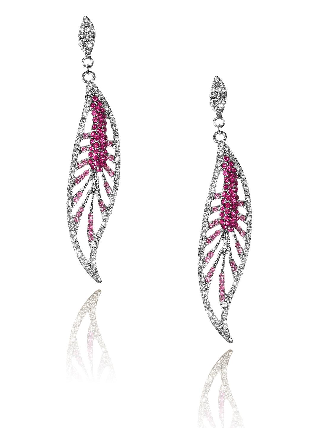 Women Leaf Rhinestone Drop Dangle Hook Earring Ear Stud Rose Red