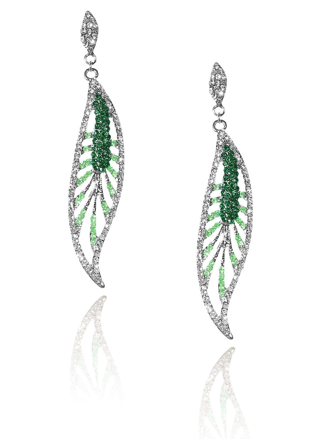 Women Leaf Rhinestone Drop Dangle Hook Earring Ear Stud Green