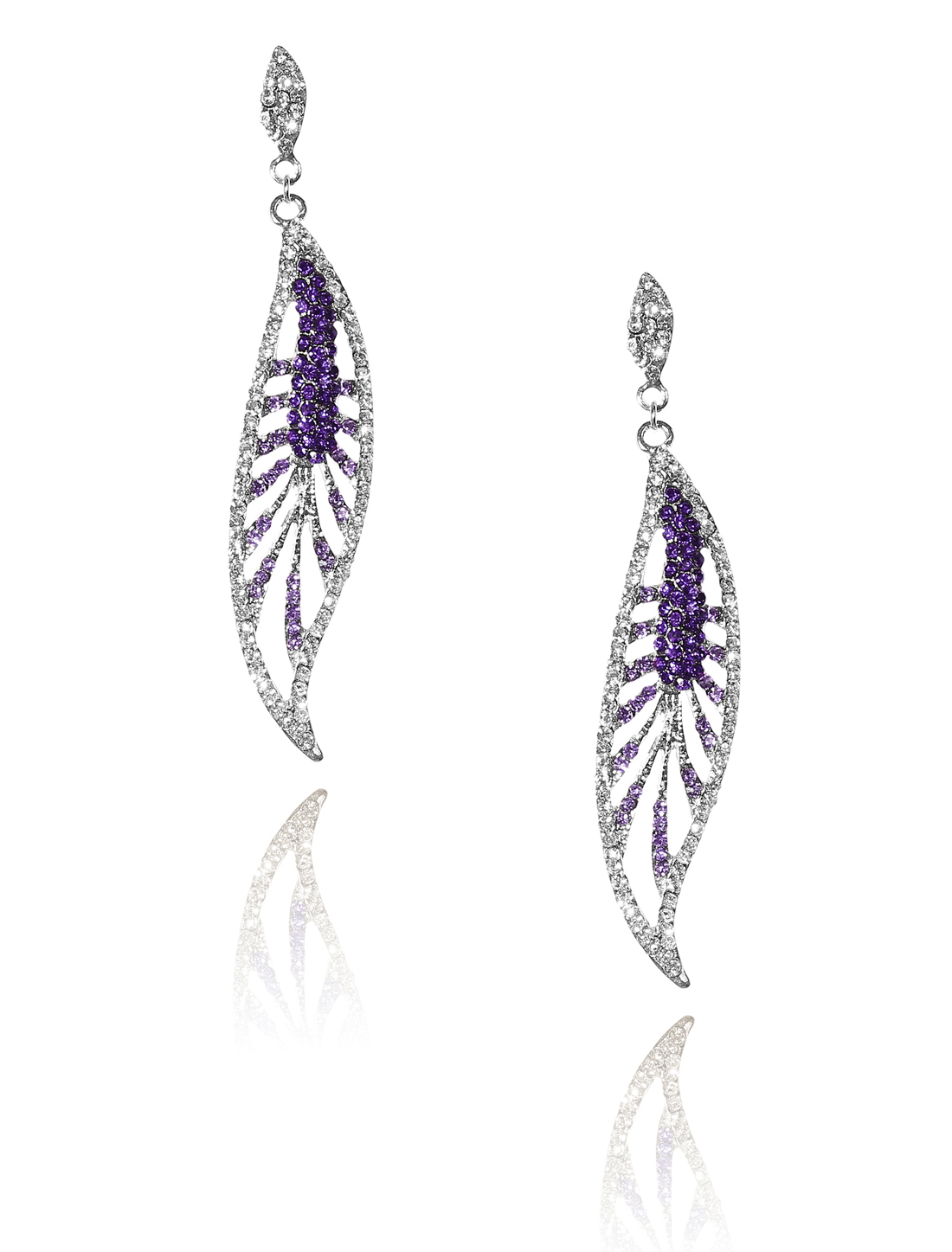 Women Leaf Rhinestone Drop Dangle Hook Earring Ear Stud Purple