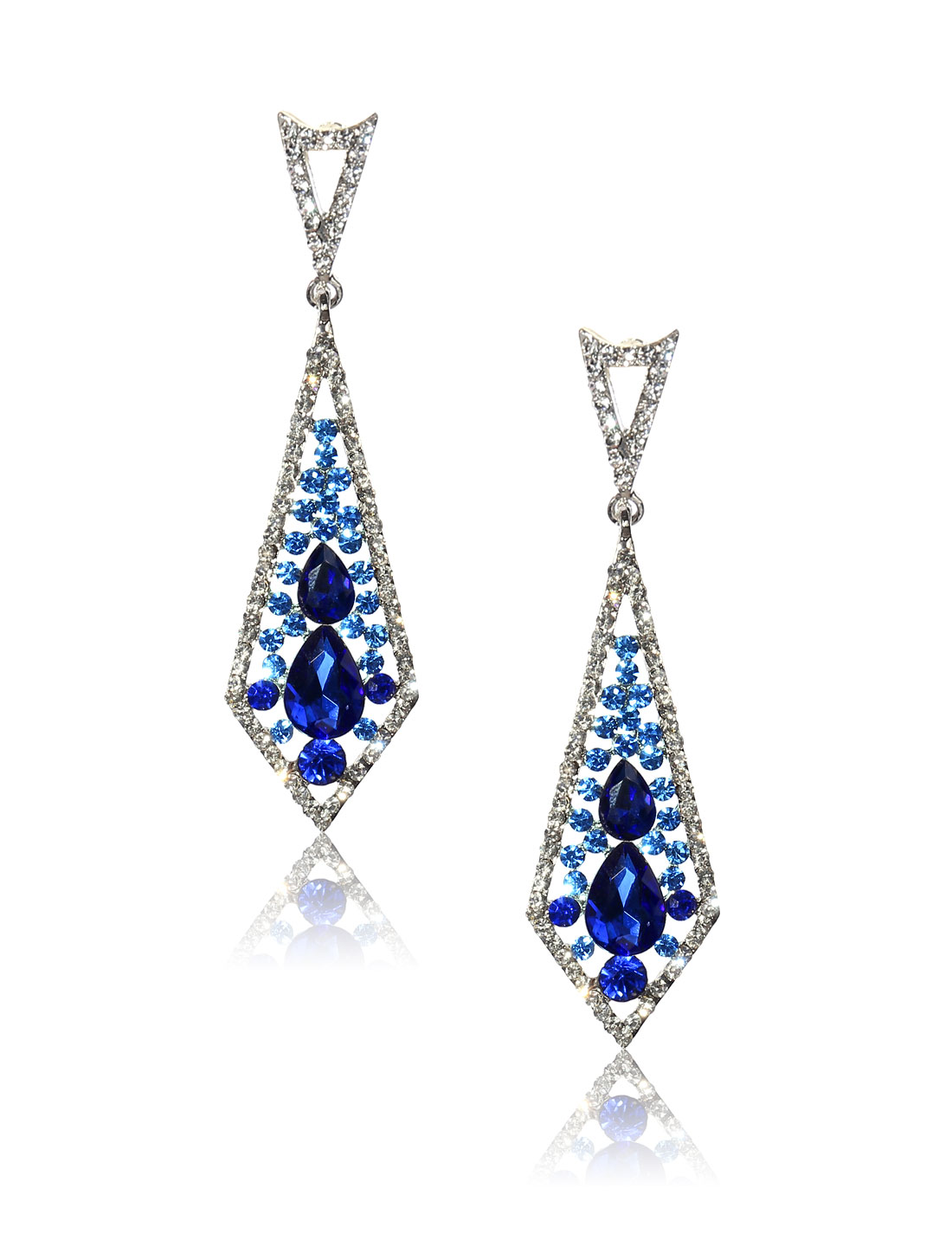 Women Rhombohedral Rhinestone Drop Dangle Hook Earring Ear Stud Dark Blue