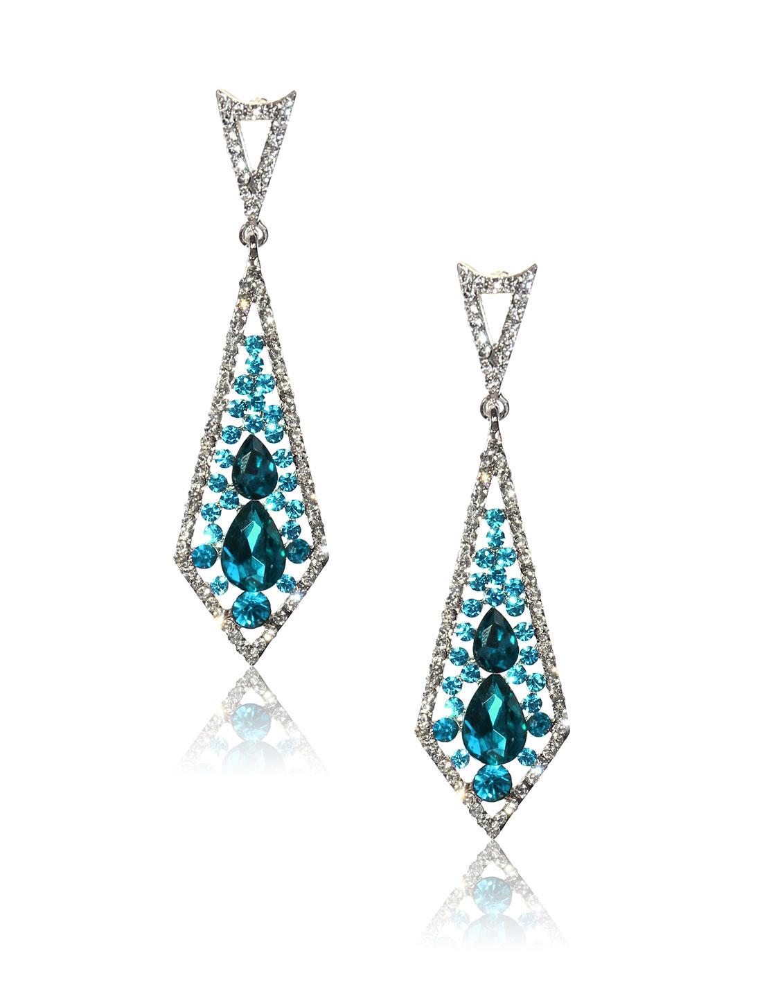 Women Rhombohedral Rhinestone Drop Dangle Hook Earring Ear Stud Peacock Blue