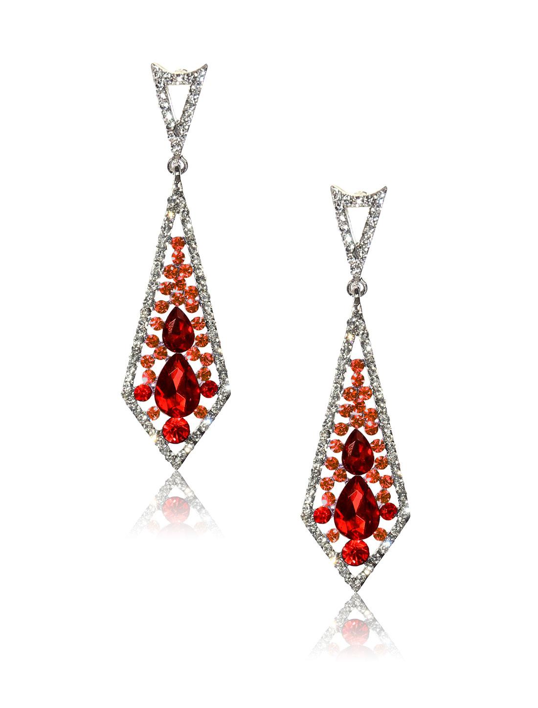 Women Rhombohedral Rhinestone Drop Dangle Hook Earring Ear Stud Red