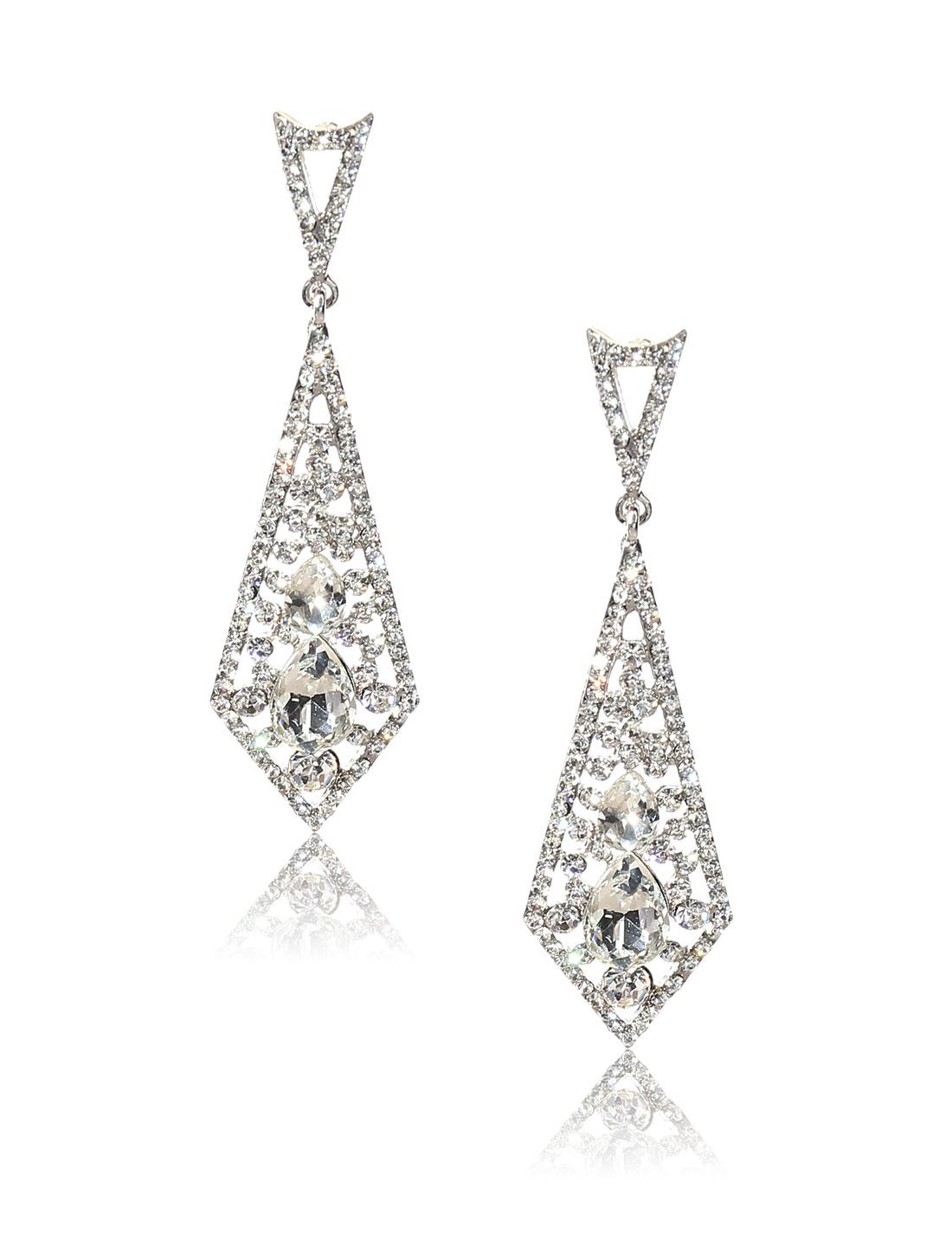 Women Rhombohedral Rhinestone Drop Dangle Hook Earring Ear Stud White
