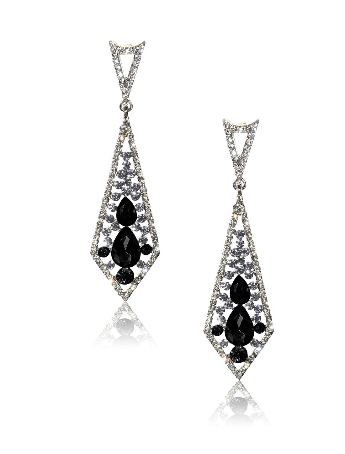 Women Rhombohedral Rhinestone Drop Dangle Hook Earring Ear Stud Black
