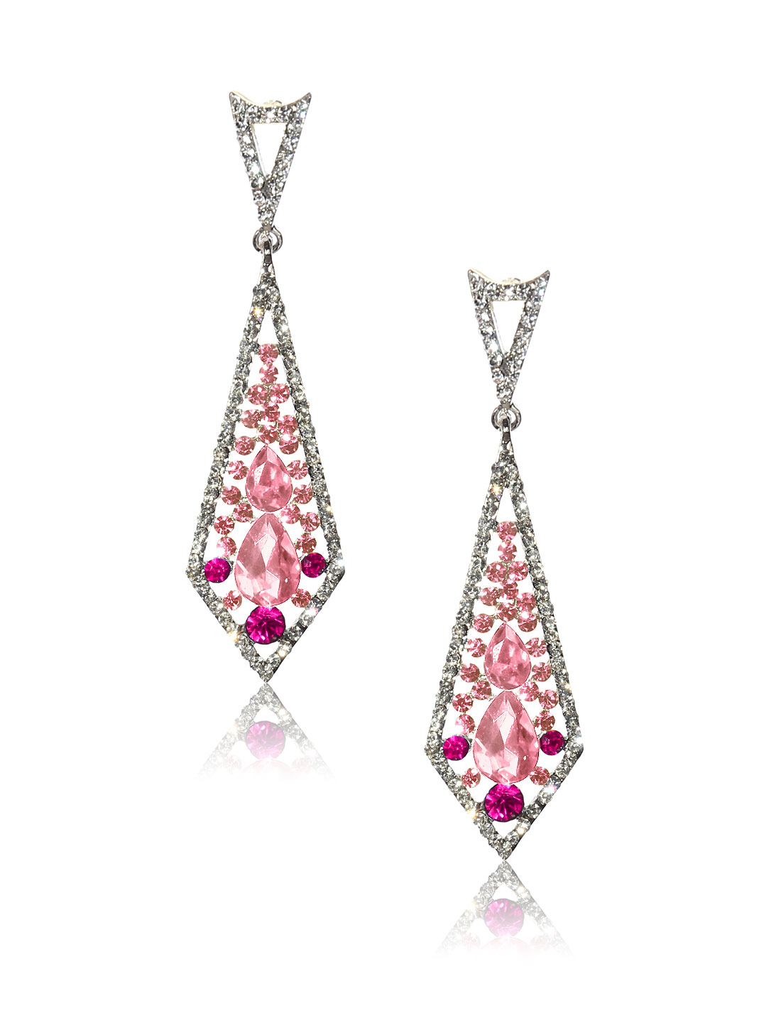 Women Rhombohedral Rhinestone Drop Dangle Hook Earring Ear Stud Pink