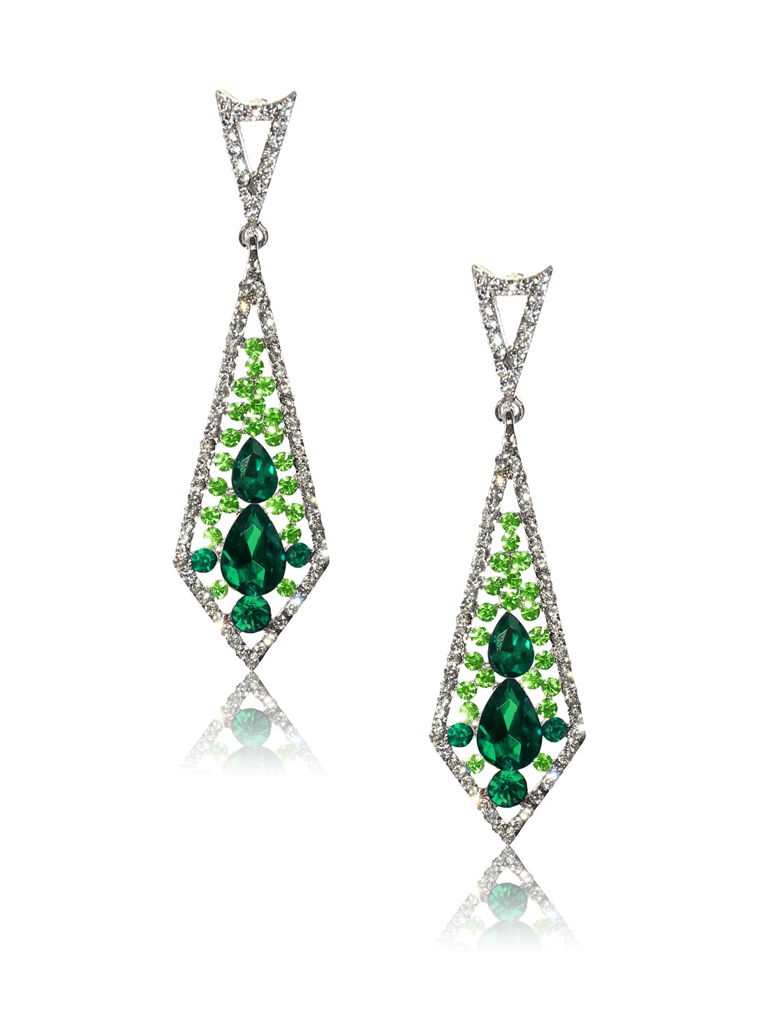 Women Rhombohedral Rhinestone Drop Dangle Hook Earring Ear Stud Green