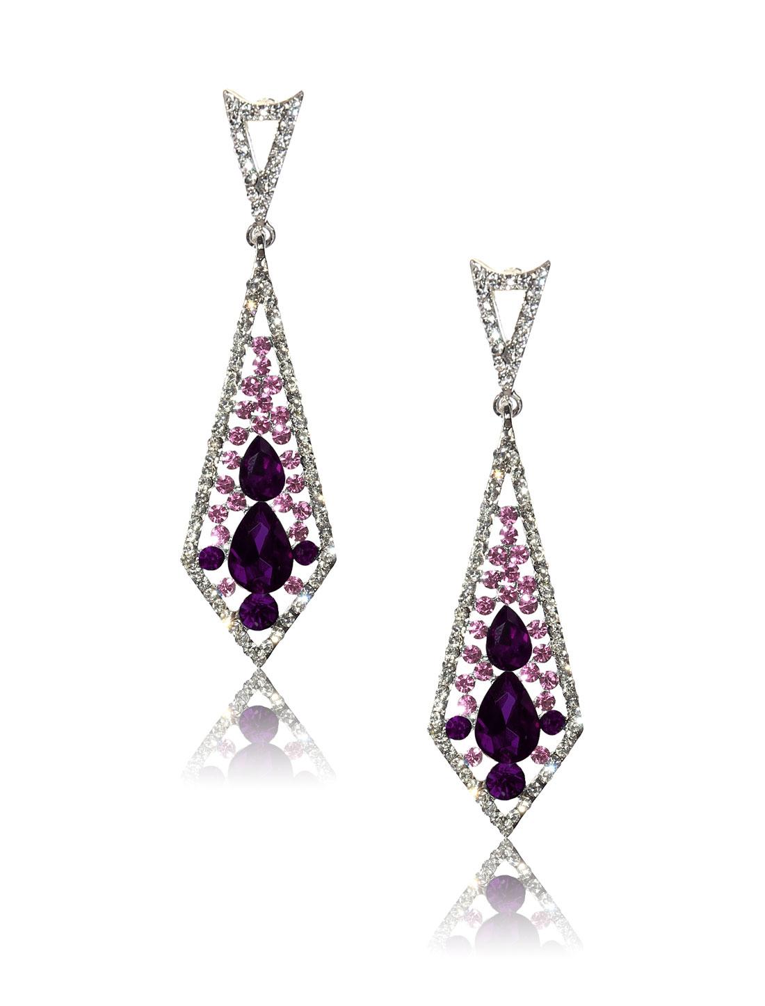 Women Rhombohedral Rhinestone Drop Dangle Hook Earring Ear Stud Purple