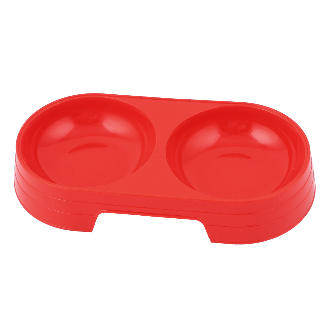 Pet Dog Cat Puppy Plastic Double Food Water Dish Feeding Feeder Bowl Red