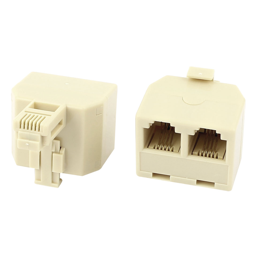 2Pcs Plastic RJ11 6P4C Double Holes Female/Female Telephone Cable Inline Connector Beige