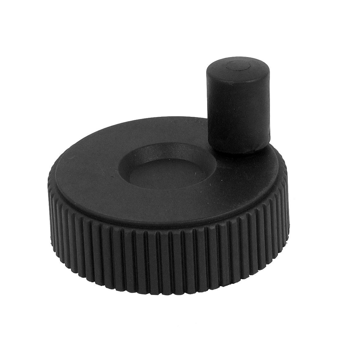 8mm Bore Dia.Plastic Hand Wheel Revolving Handle Grip Knob Black 62mm Diameter