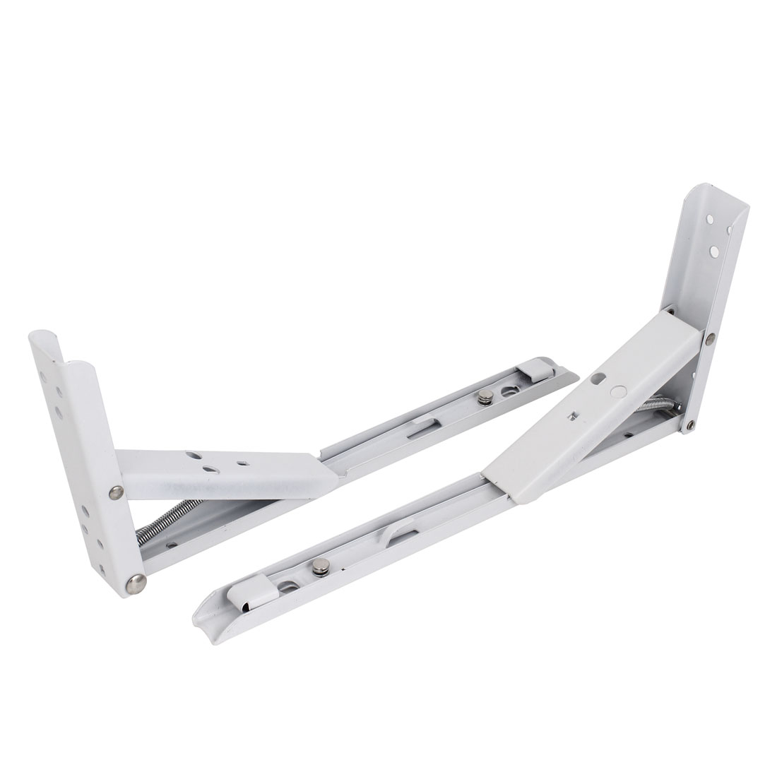 2 Pcs 30cmx13cm White Metal L Shaped Right Angle Holder Folding Shelf Brackets