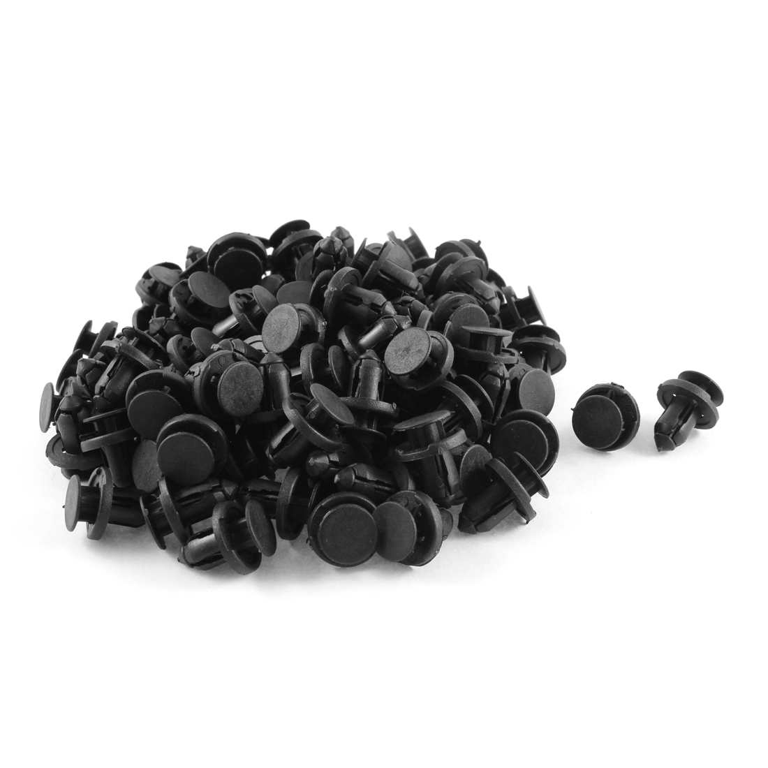 100 Pcs Black Plastic Rivets Fastener Fender Bumper Push Screw Pin Clips 8mm Hole