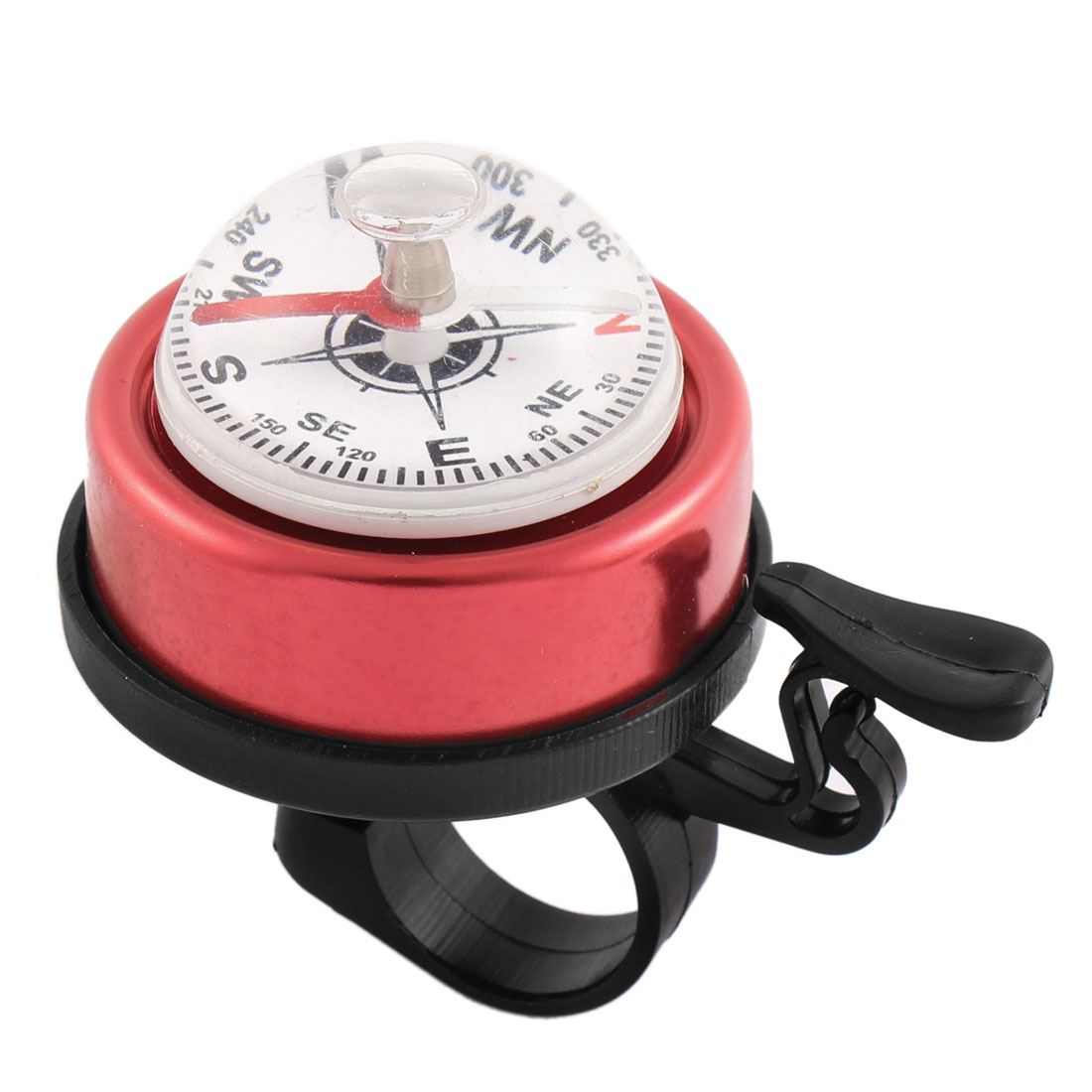 Red Black Bicycle Bike Cycling 22mm Handlebar Safety Alarm Ring Bell w Compass