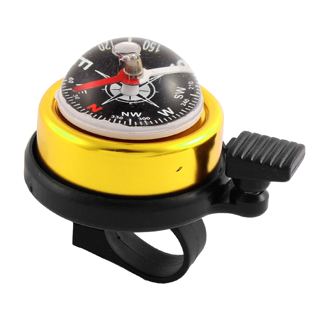 Bicycle Cycling Compass Style 22mm Handlebar Alarm Ring Bell Gold Tone Black