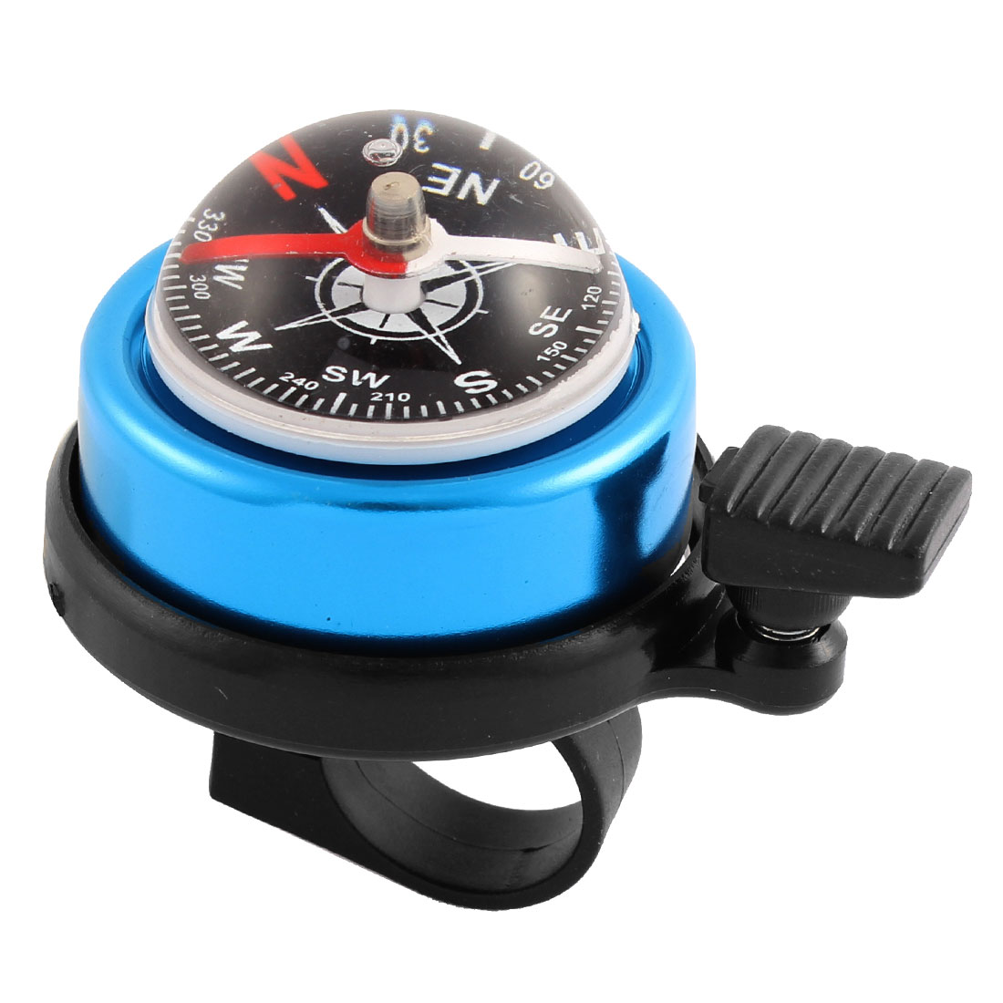 Blue Black MTB Bicycle Bike Cycling Handlebar Safety Alarm Ring Bell w Compass