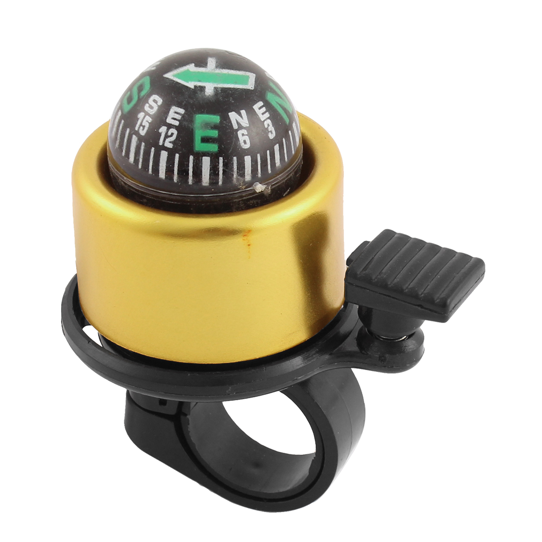 Bicycle Cycling 21mm Handlebar Compass Design Ring Bell Alarm Gold Tone Black