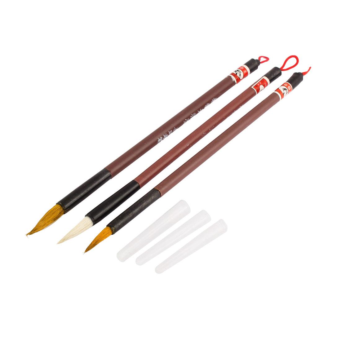 3 Pcs Painting Writing Plastic Shaft Chinese Brush Small Size w String