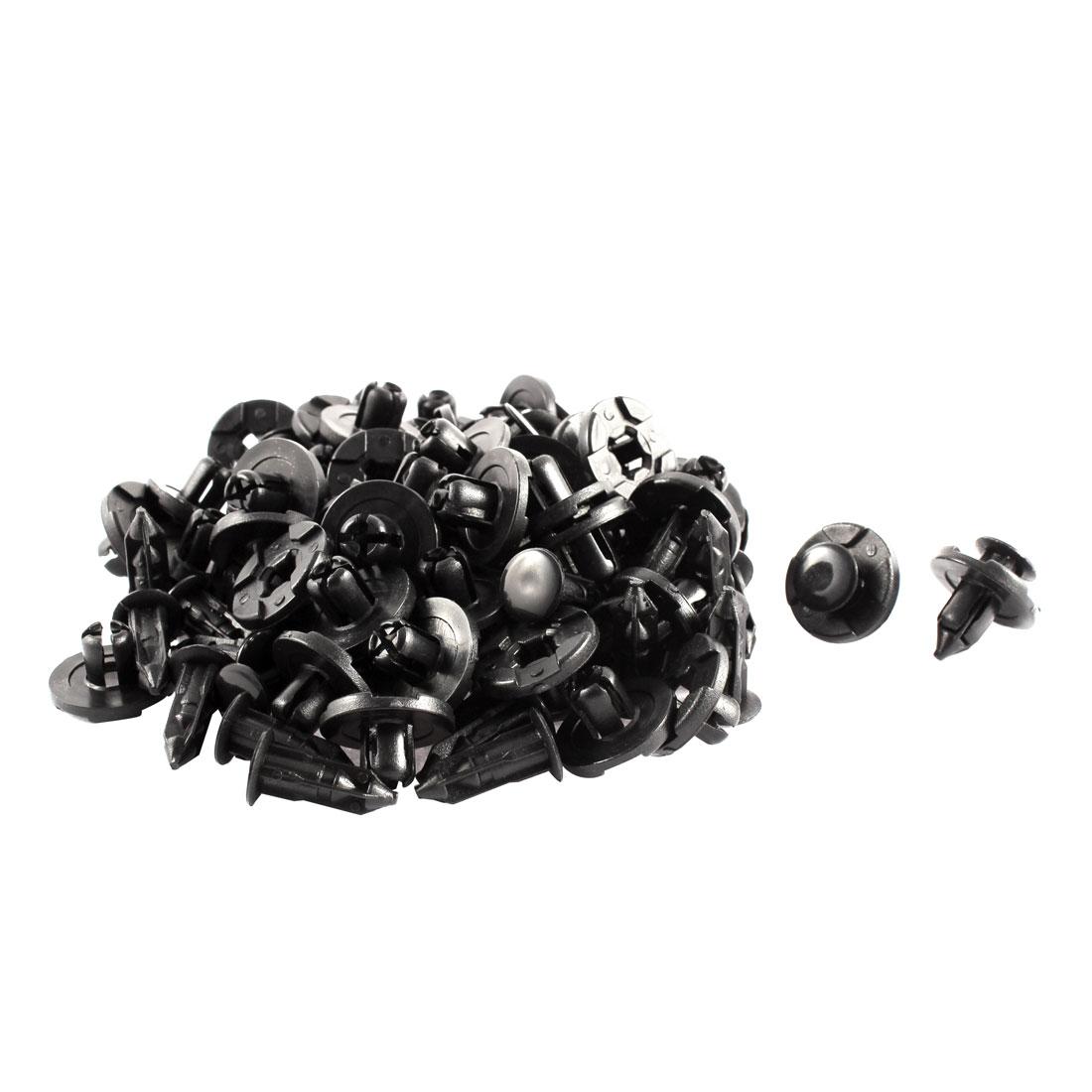 50 Pcs Black Plastic Radiator Cap Car Rivets Bumper Fender Push Clips 8mm Hole Dia